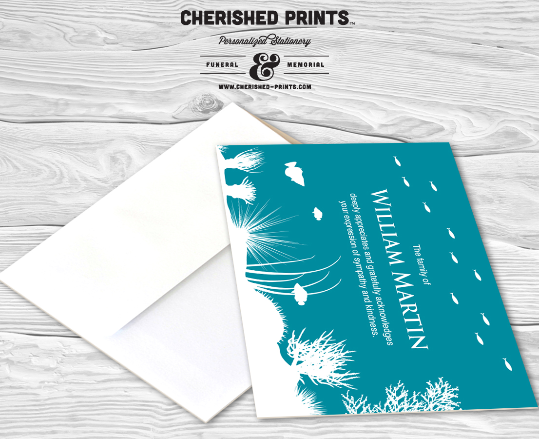 Coral Reef Thank You Cards Sympathy Cherished Prints