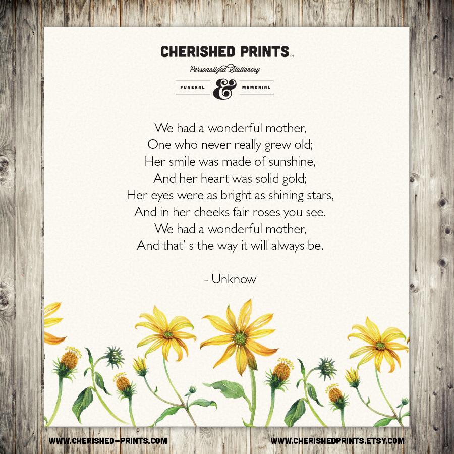 Preferred We had a Wonderful Mother • Cherished Prints WB94