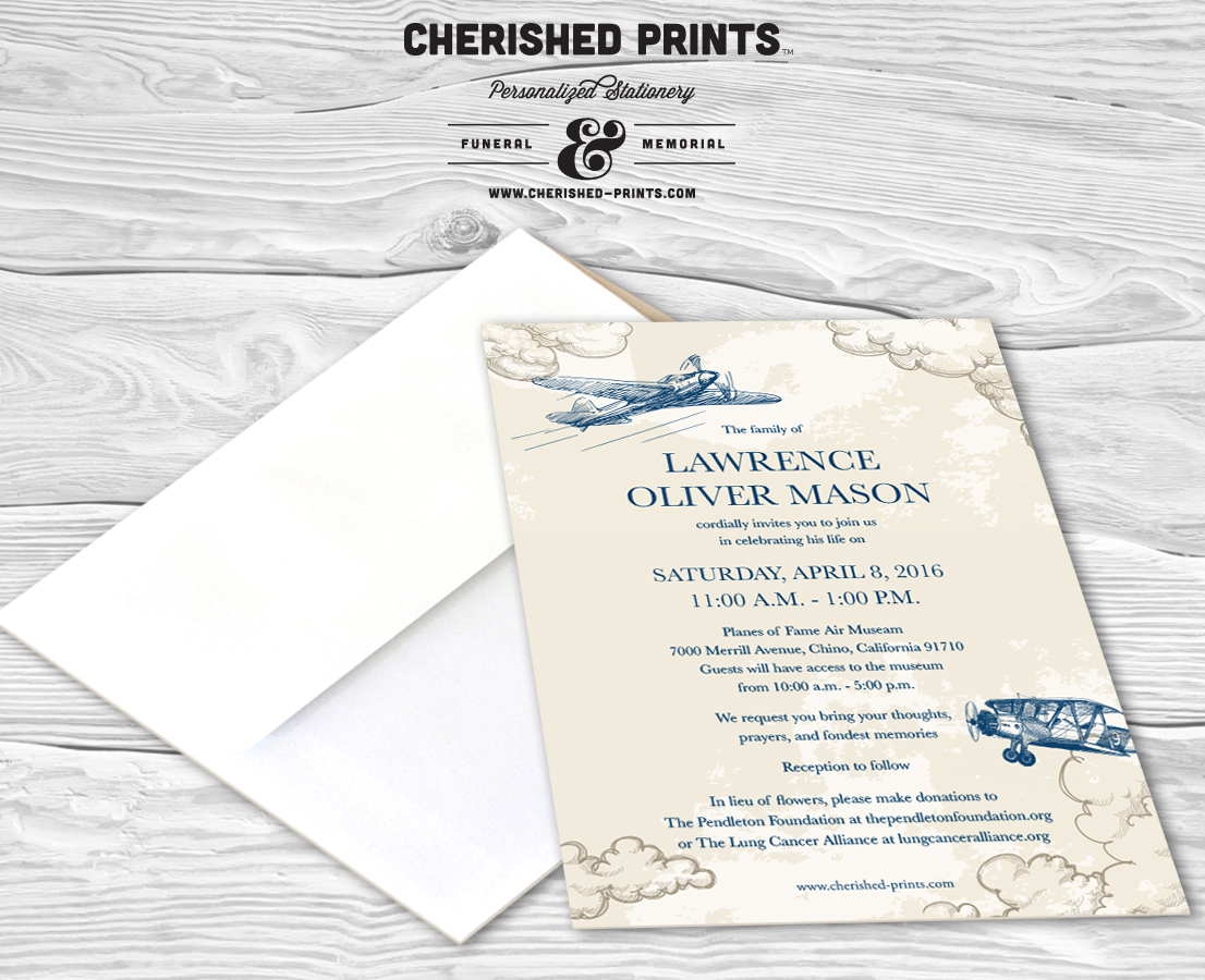 Vintage Airplanes Celebration of Life Invitations and Memorial ...