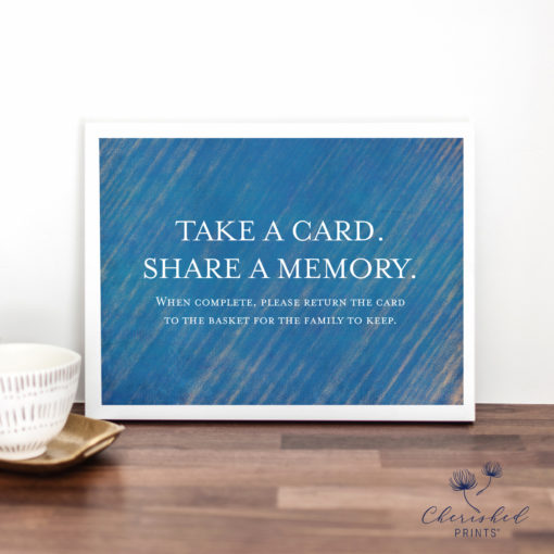 Modern Blue Striped share a memory card sign