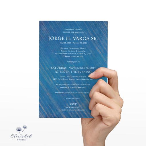 Modern Blue Striped Invitation