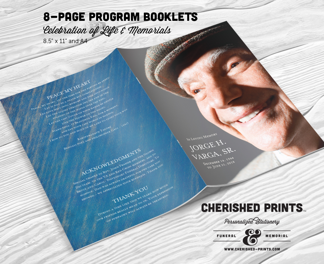 Blue Stripped Texture Modern Multi Page Funeral Program Booklet