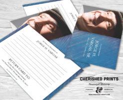 Modern Blue Stripped Texture Memorial Funeral Memory Notecards