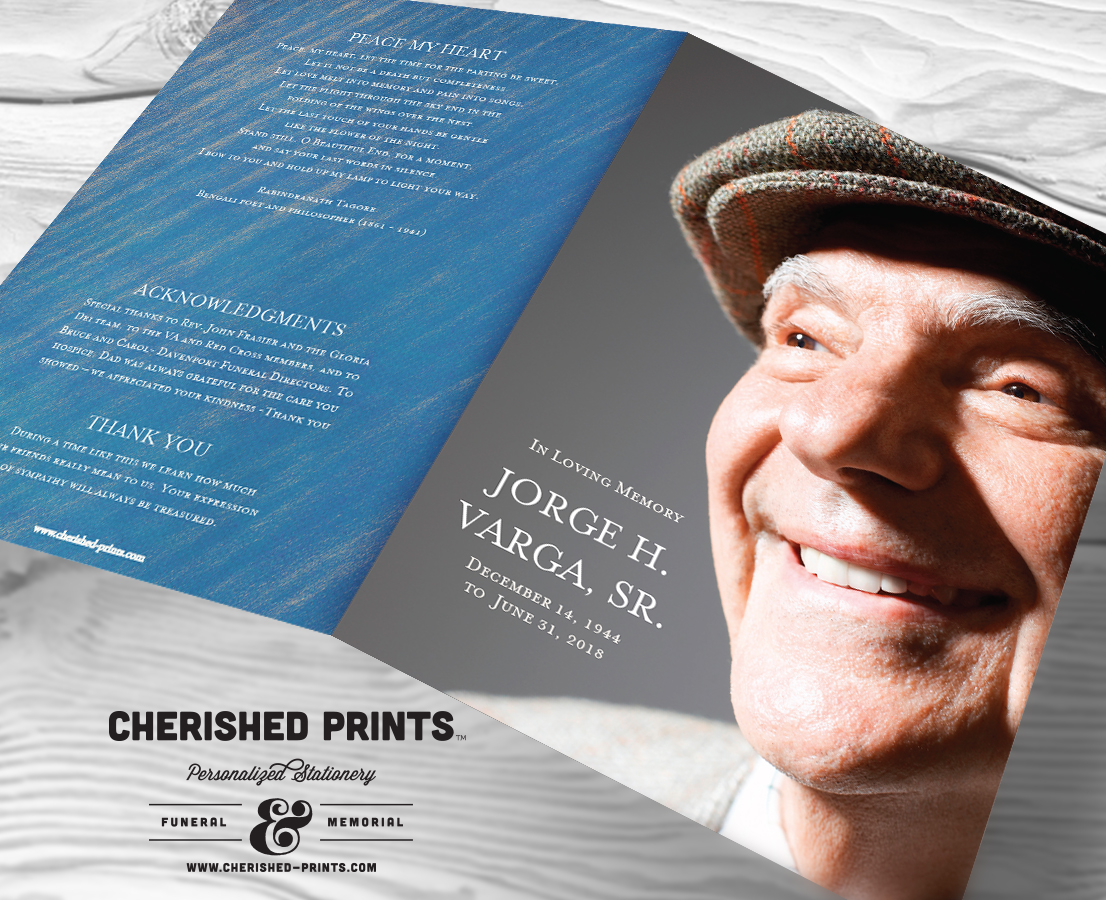 Modern Blue Stripped Texture Funeral Program Celebration Of Life Bulletin And Order