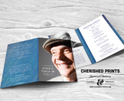 Modern Blue Stripped Texture Funeral Program, Celebration of Life Program, Bulletin and Order of Service