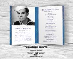 Modern Blue Stripped Texture Funeral Program, Celebration of Life Program, Bulletin and Order of Service