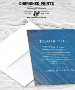 Modern Blue Stripped Texture Thank You Card Sympathy, Memorial, Funeral