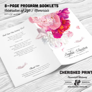 Beautiful Soft Peonies Multi-Page Funeral Program Booklet