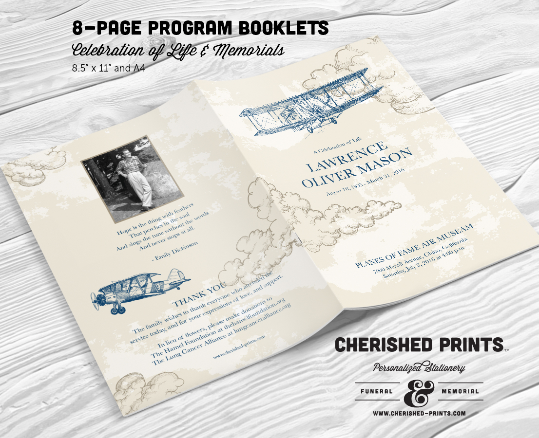 vintage airplanes multi page funeral booklet program for memorials