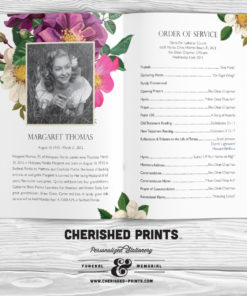 Spring Flowers Funeral Multi-Page Program for Memorials- Bulletin - Order of Service