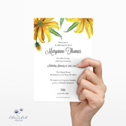 yellow watercolor daisies memorial card