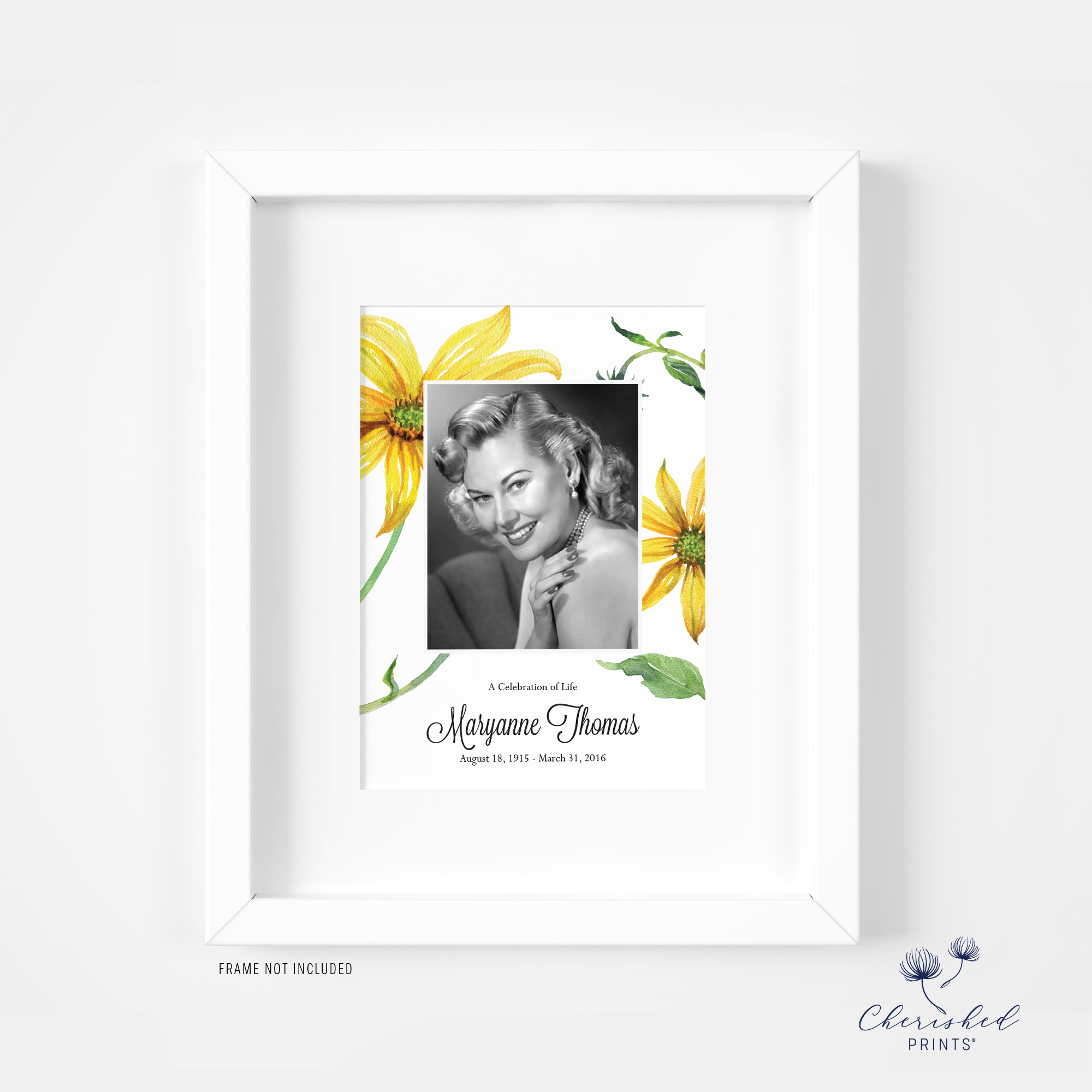 framed announcement yellow watercolor daisies