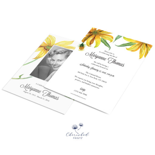 yellow watercolor daisies front and back invitation