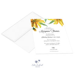yellow watercolor daisies invitation with envelope