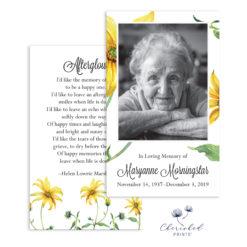 yellow daisies Prayer card