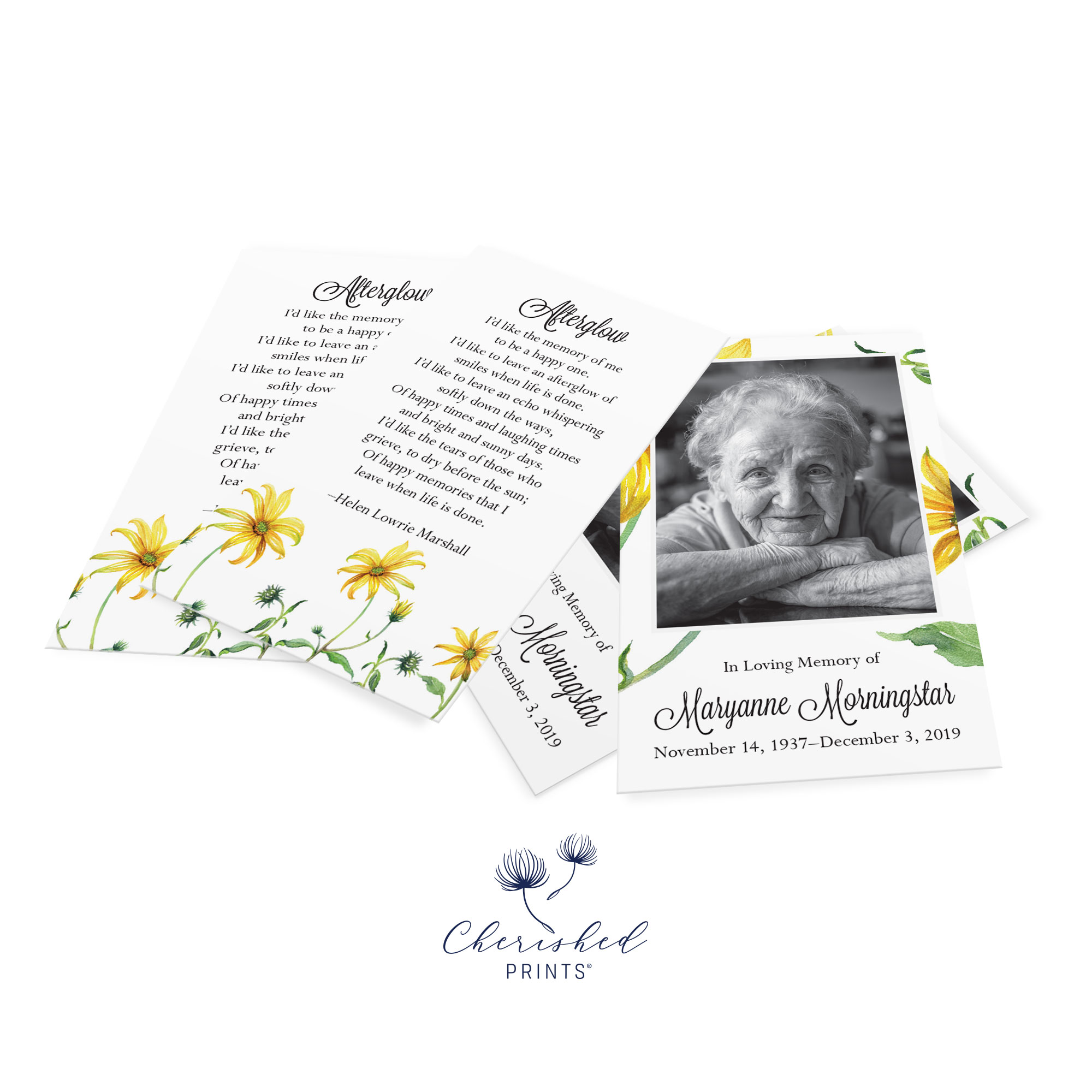 yellow daisies Prayer card cluster