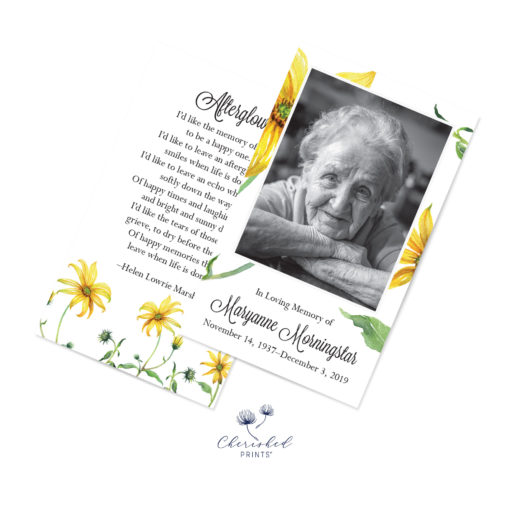 yellow daisies Prayer card