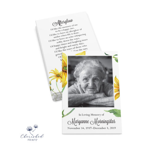 stack of yellow daisies Prayer card