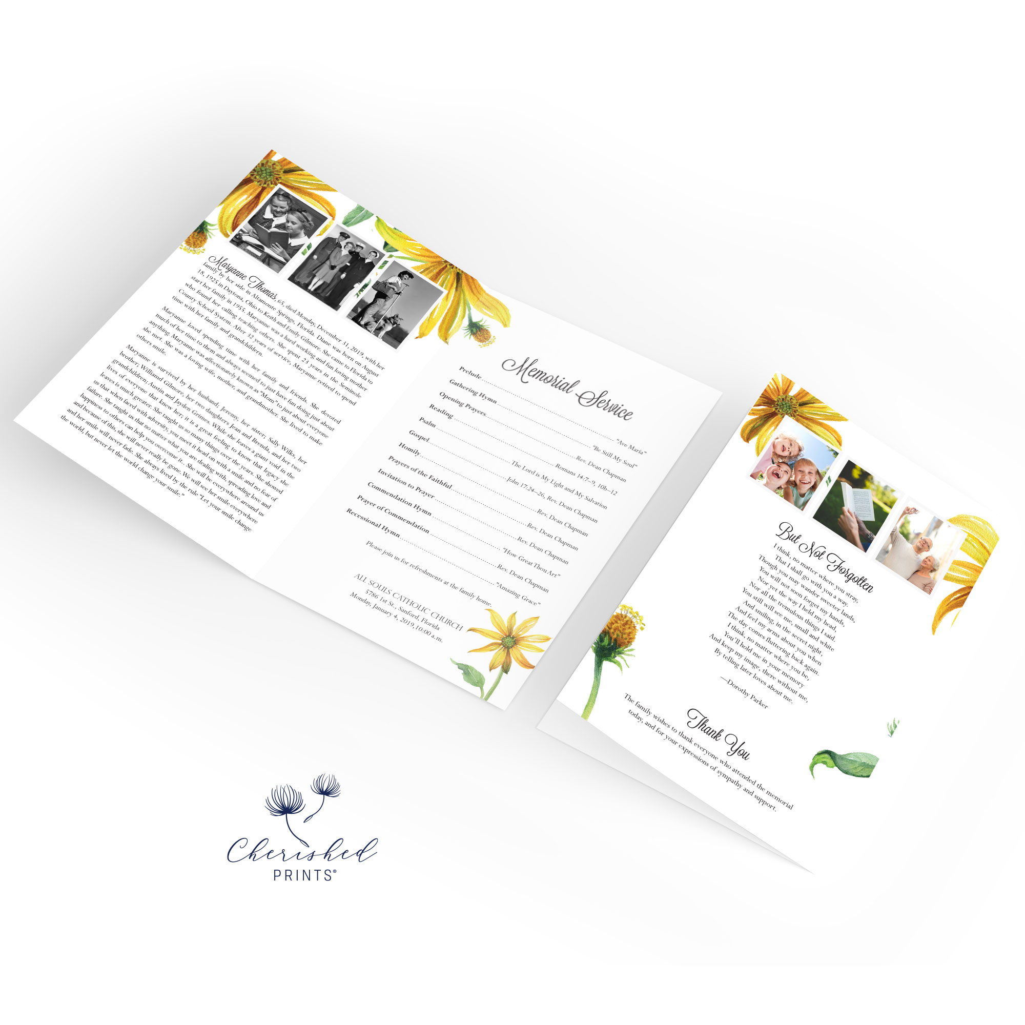 Yellow Daisies Program inside and back