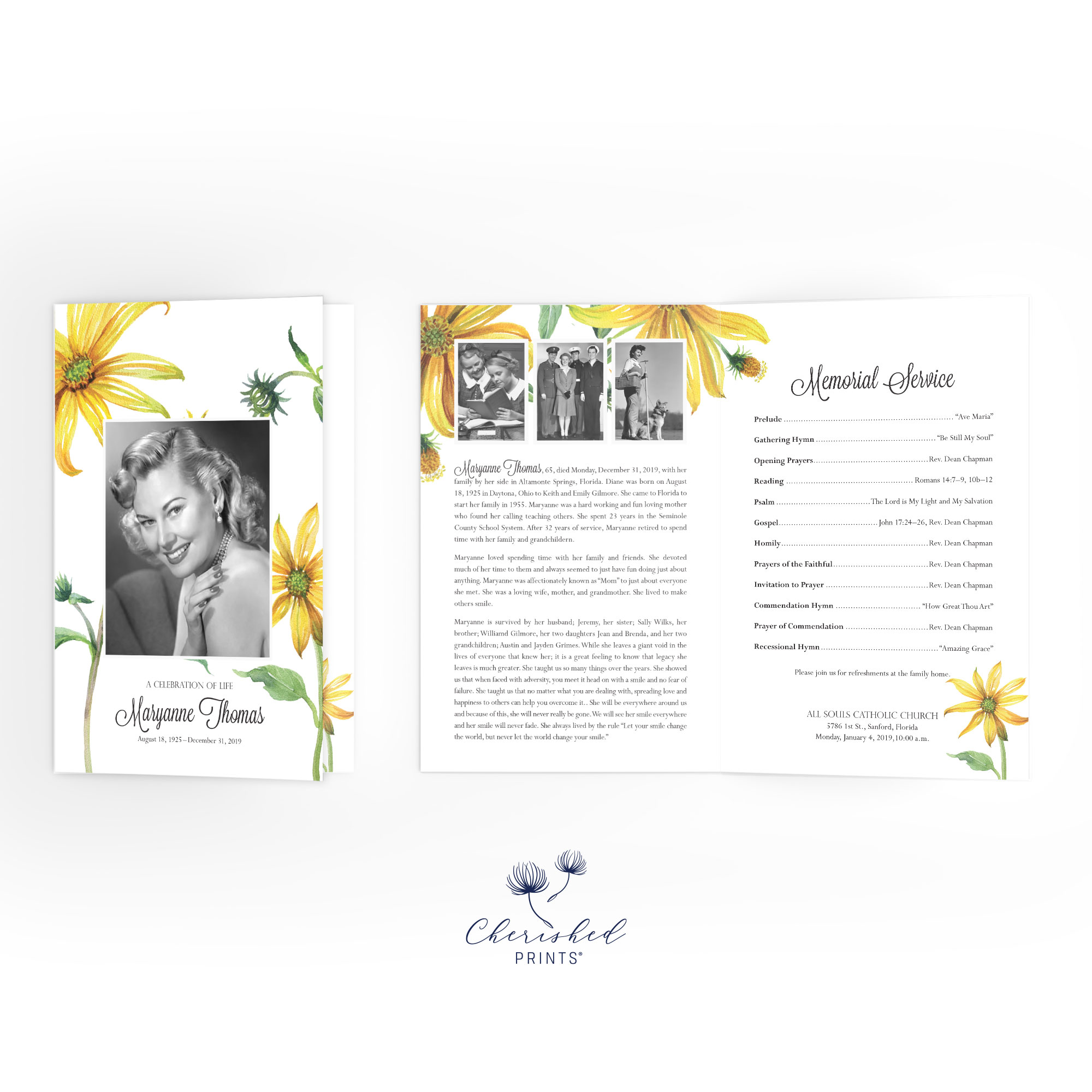 Yellow Daisies Program conver and inside