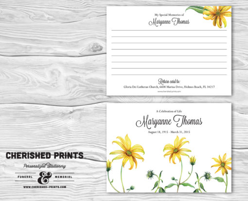 Daisies Memorial Card