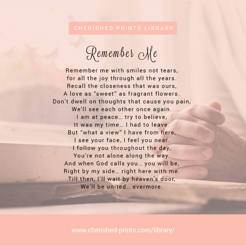 Remember Me Poem