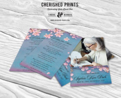 Pink Cherry Blossoms Prayer card front and back