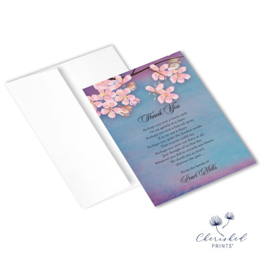 Sakura Cherry Blossom Thank You Note Card with envelope
