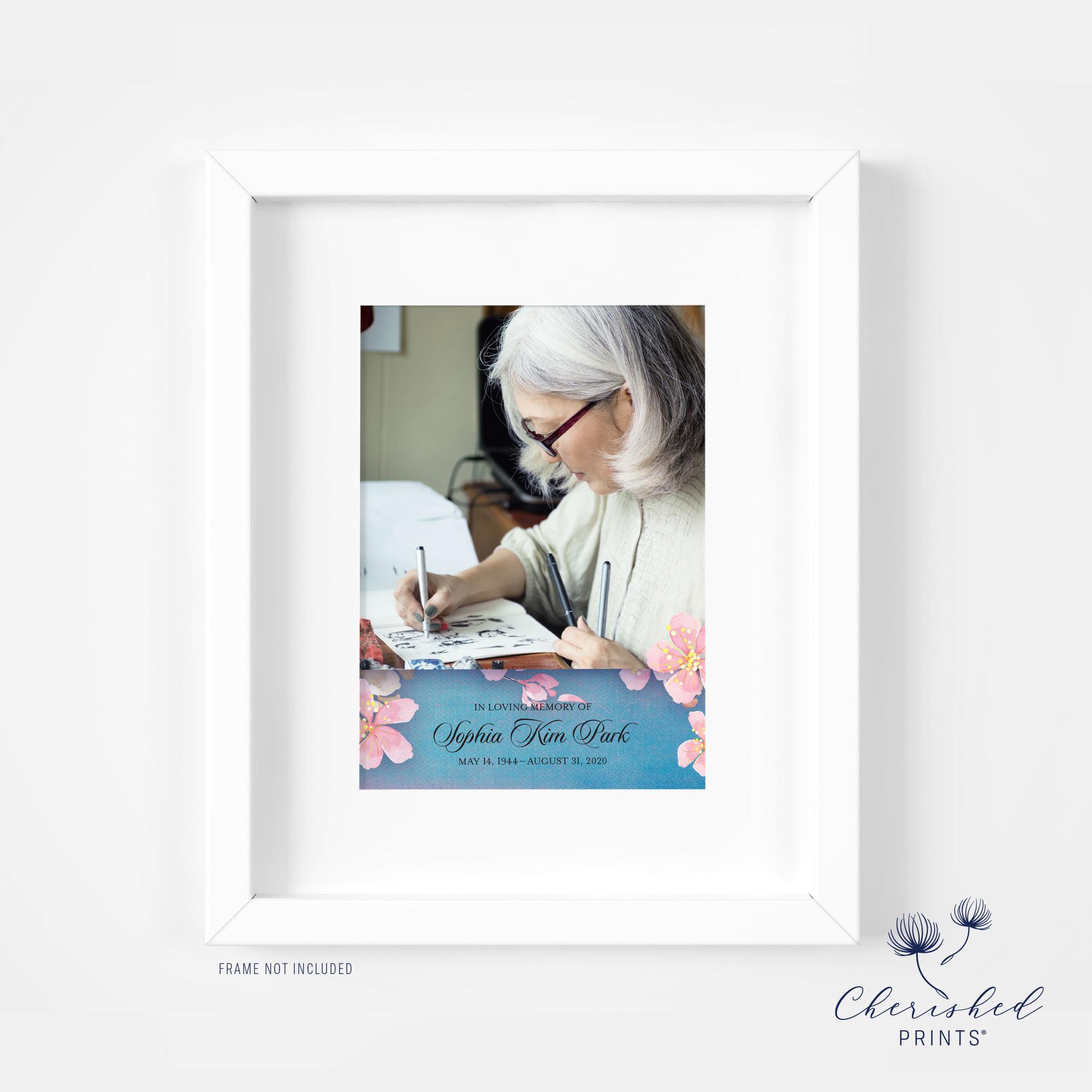 Cherry Blossom Sakura Framed Memorial CardAnnouncement