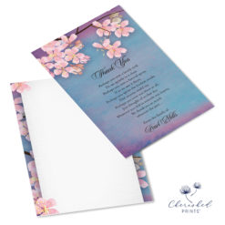 Sakura Cherry Blossom Thank You Note Card Front and Back