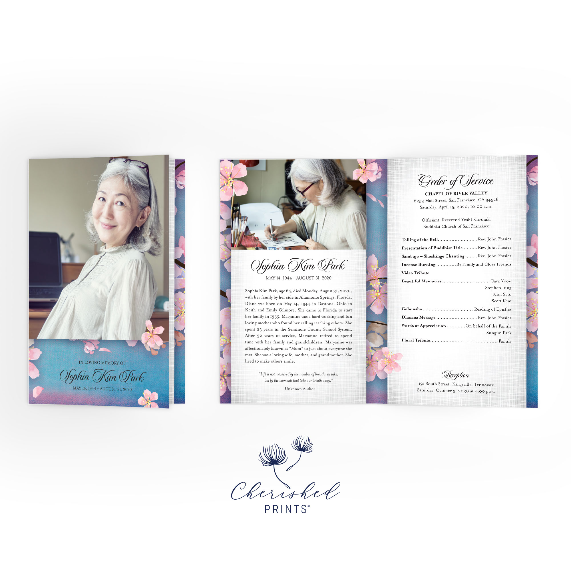 Cherry Blossom Sakura Funeral Program