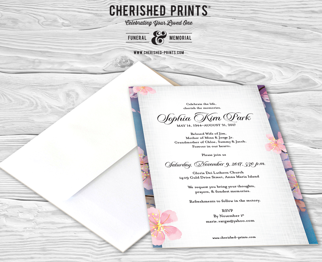 cherry blossoms celebration of life invitations and announcements