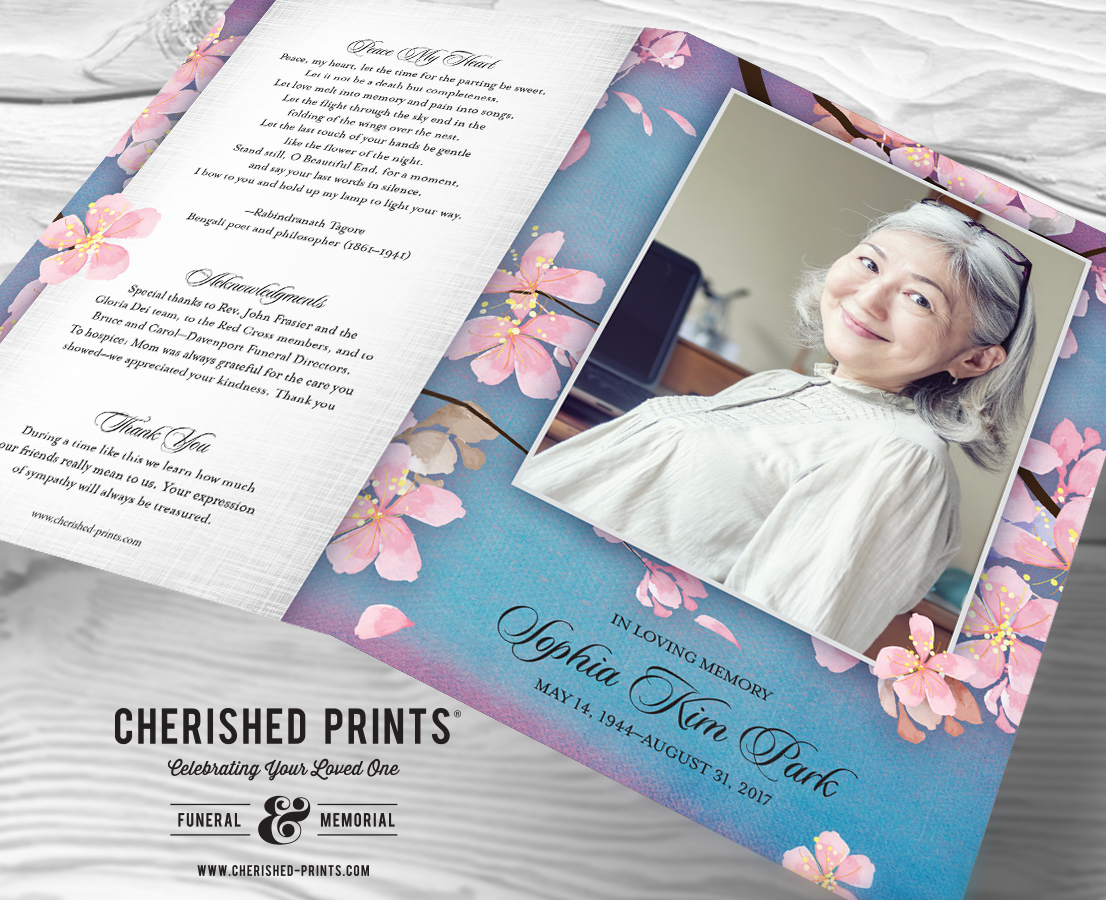 outside cover of the beautiful pink cherry blossoms celebration of life program funeral services program memorial