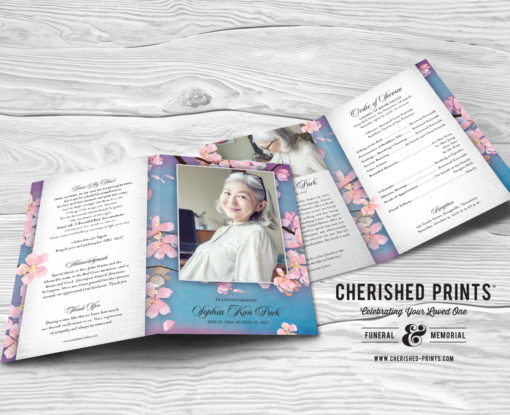 Cherry Blossoms Celebration of Life Program for Funeral and Memorial Service