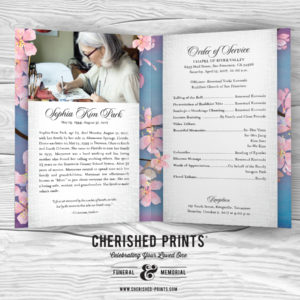 Pink Cherry Blossoms Sample Celebration of Life Program for Funeral and Memorial Service Obituary Order of Service