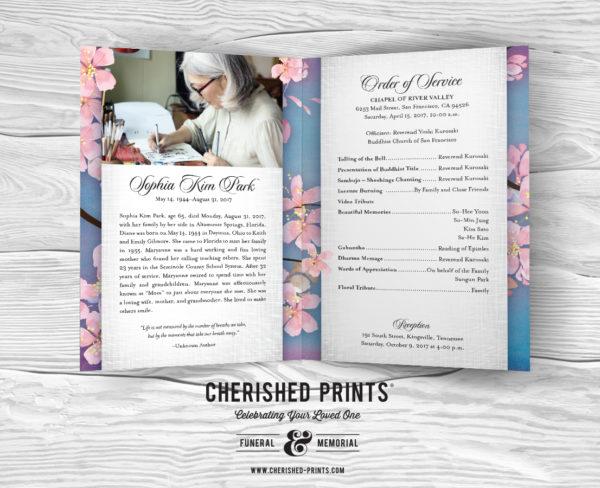Inside Beautiful Pink Cherry Blossoms Celebration of Life Program Funeral Services Program Memorial Service Program - Purple and Blue background Obituary