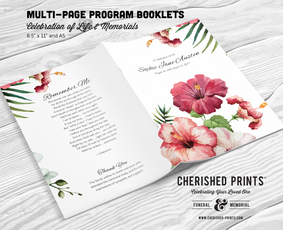 tropical flowers multi page program booklet cherished prints