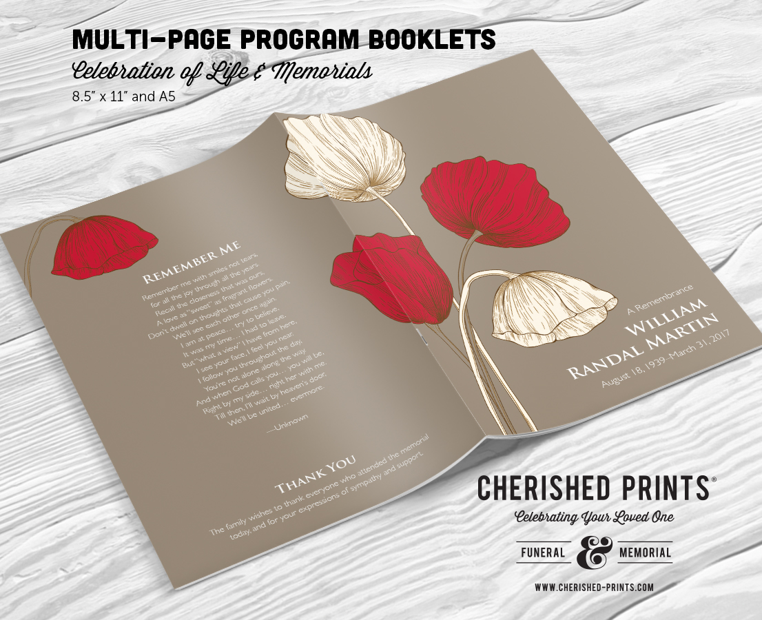 poppies remembrance multi page funeral booklet program cherished