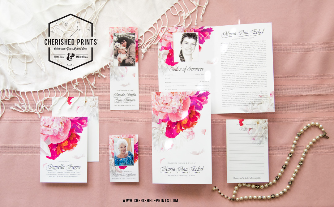 peonies celebration of life-stationery