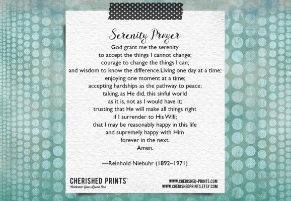 Serenity Prayer Cherished Prints Library