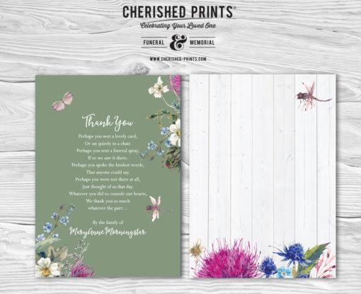 Green Summer Wildflowers Acknowledgment Cards