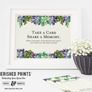 Succulents Share a Memory Card Signs - Instant Download