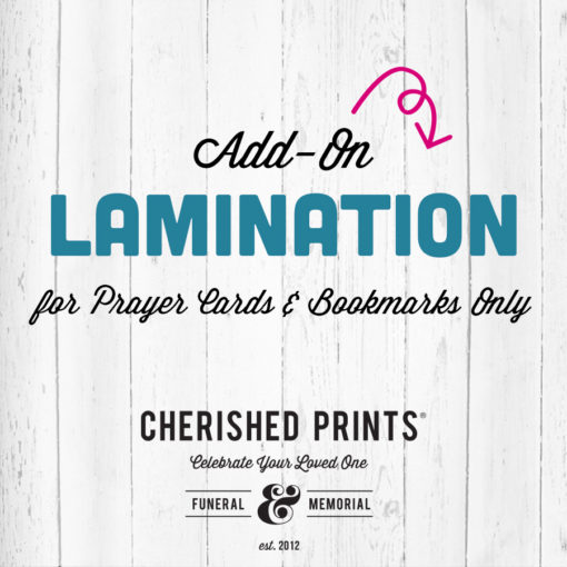 Cherished Print Lamination Add On for prayer cards and bookmarks