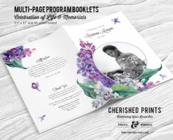 Lilacs Multi-Page Funeral Booklet Program, Celebration of Life Program, Memorial Booklet, Multipage Folder, Order of Service