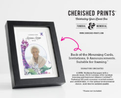 Lilacs Celebration of Life Invitations, Mourning Cards and Announcements Framed