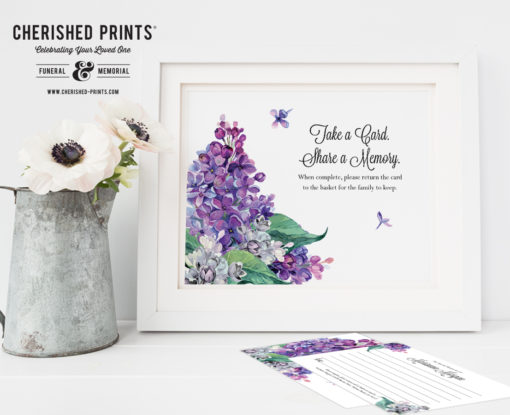 Lilacs Share a Memory Card Signs - Instant Download