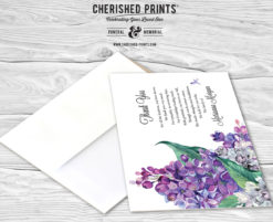 Lilacs Thank You Cardsfor Funerals and Memorials