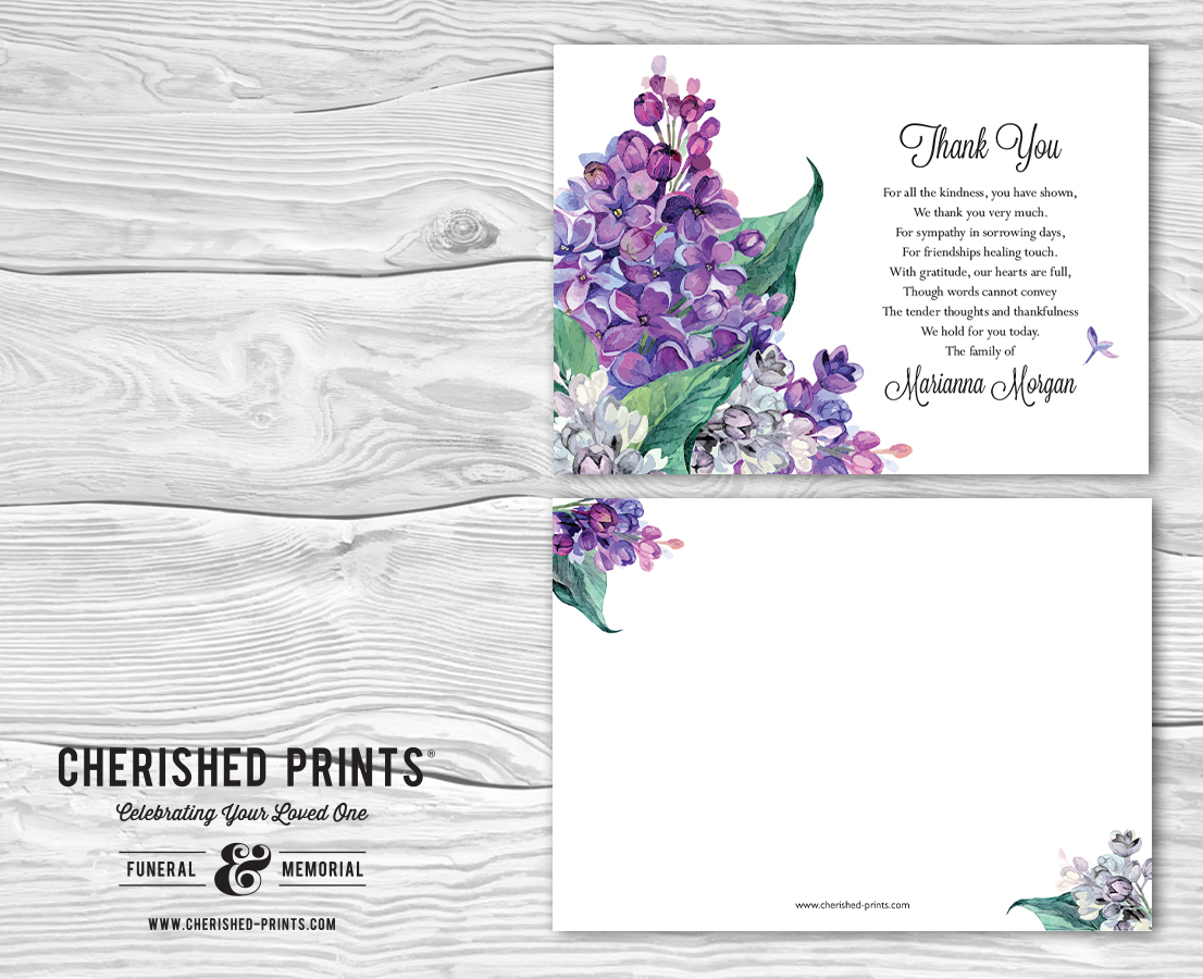 Lilacs Thank You Cards And Acknowledgment Funerals And Memorials