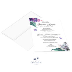 Lilac flowers invitation and envelope