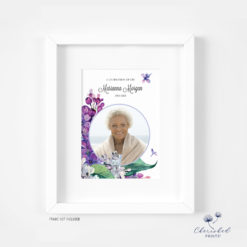 framed lilac flowers memorial card